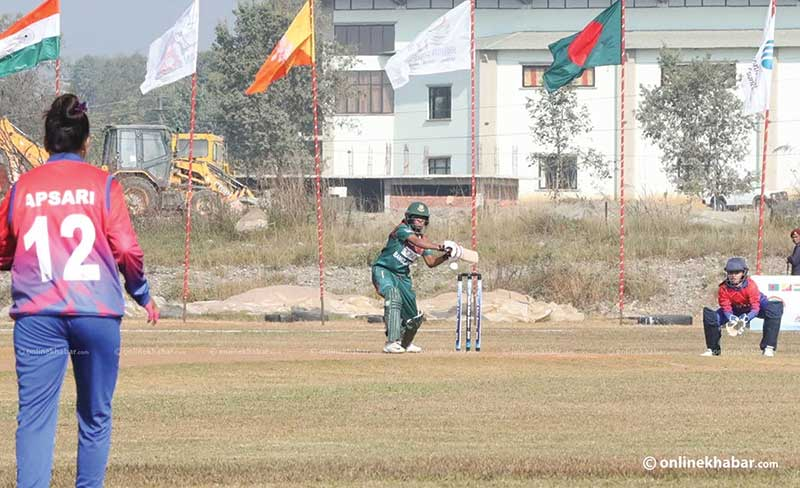 Bangladesh vs Nepal women's cricket match during the 13th South Asian Games in Pokhara, on Wednesday, December 4, 2019.	photo: Courtesy