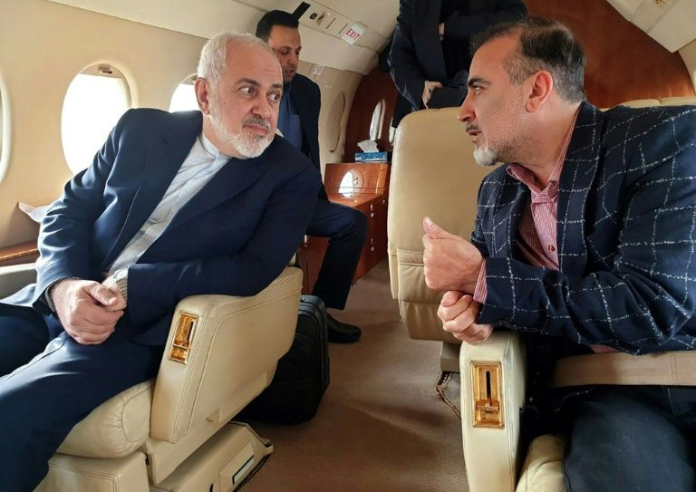 Iran's Foreign Minister Mohammad Javad Zarif tweeted photos of himself on a plane with freed scientist Massoud Soleimani (AFP Photo/-)