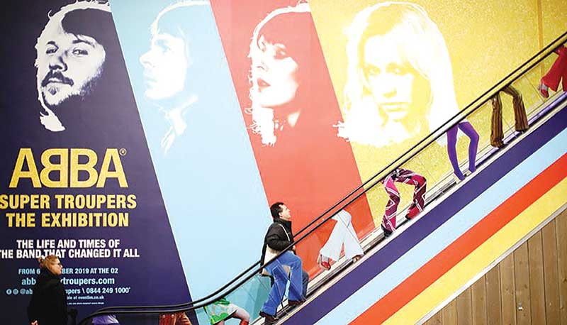 A visitor enters the 'ABBA: Super Troupers The Exhibition' at the O2 in London, Britain on December 5, 2019.Photo : Reuters