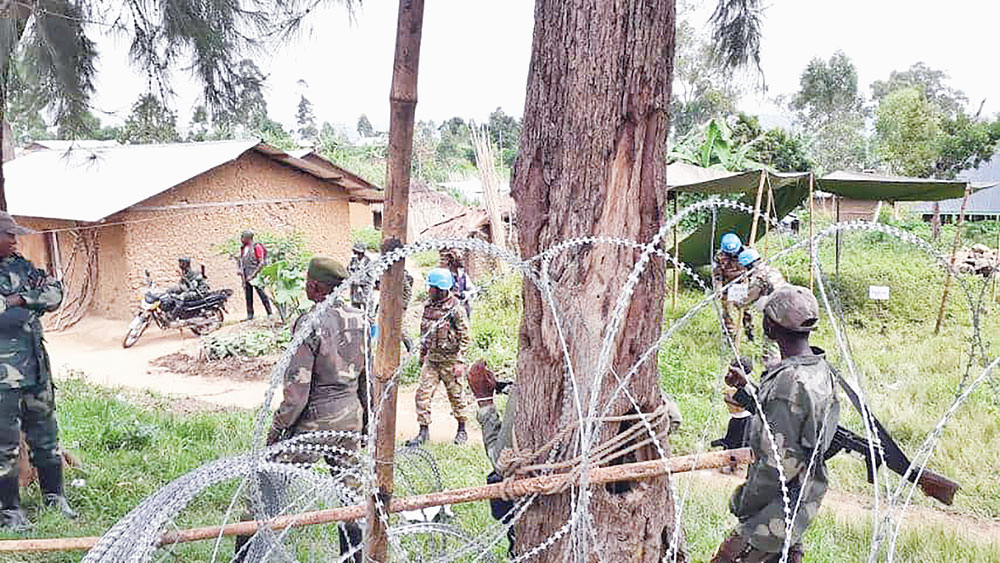 Bangladesh Army deployed at the Democratic Republic of Congo in the UN peacekeeping mission have facilitated peace negotiation between Congolese government and the armed rebels are seen in their Bunia compound  on Saturday.		PHOTO: OBSERVER