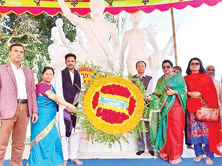 To mark Ramgarh Freedom Day, wreath being placed at victory monument in Ramgarh Upazila Town in Khagrachhari on Sunday.photo: observer