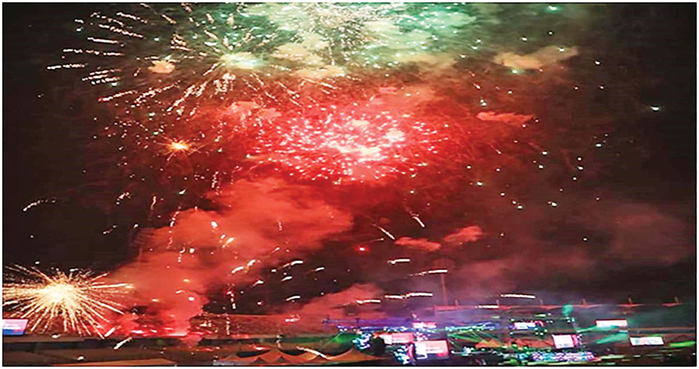 Fireworks at the inaugural ceremony of the Bangabandhu BPL 2019 at the Sher-e-Bangla National Cricket Stadium in the capital�s Mirpur on Sunday.	PHOTO: UNB