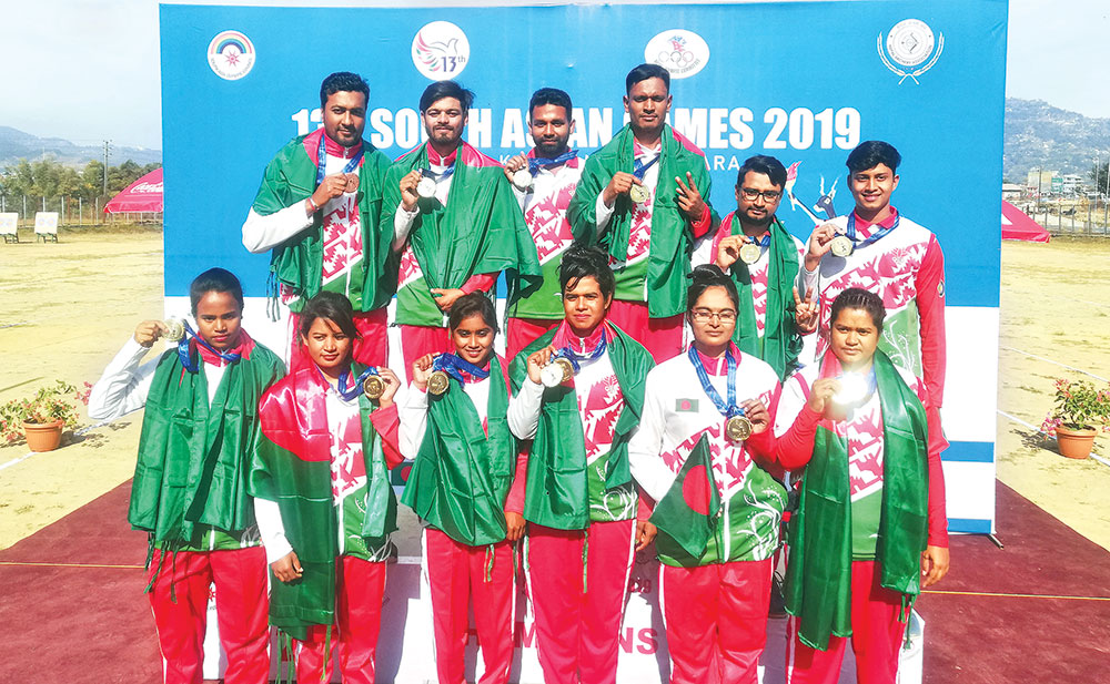 Bangladeshi archery team at the South Asian Games. Photo: BOA