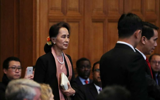 Myanmar's leader Aung San Suu Kyi arrives at the International Court of Justice (ICJ), in The Hague, Netherlands Dec 10, 2019. REUTERS