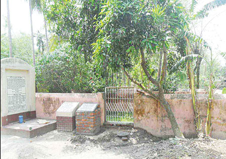 Raninagar Upazila of Naogaon District was freed on December 10, 1971, from the Pakistani occupation forces. The photo shows a mass grave of 52 martyrs at Ataikula Palpara Village in the upazila.	photo: observer