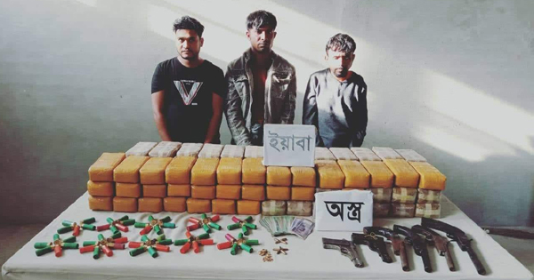 4 held with 8 lakh Yaba, arms