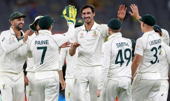 Starc and Lyon combined for four wickets apiece.--AAP: Richard Wainwright