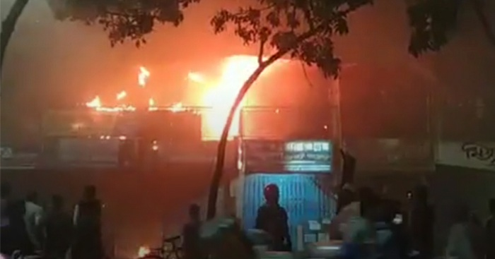 A fire breaks out at Kataban Market, adjacent to the Dhaka University tonight. Photo: Collected