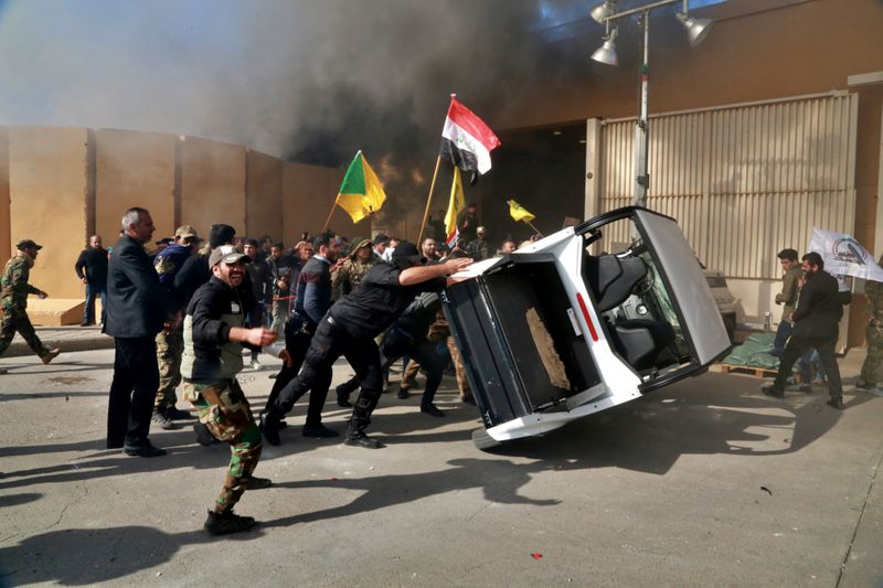 Protesters damage property inside the US.embassy compound, in Baghdad, Iraq, Tuesday, Dec 31, 2019. Image Credit: AP