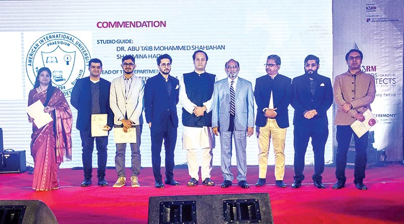 Housing and Public Works Minister SM Rezaul Karim MP graced the occasion as the chief guest while State Minister for Education Barrister Mahibul Hasan Chowdhury MP, KSRM DMD Shahriar Jahan, Director Sarwar Jahan, and IAB President Jalal Ahmed FIAB pose with awardees at an event held at hotel in the capital on Wednesday last.