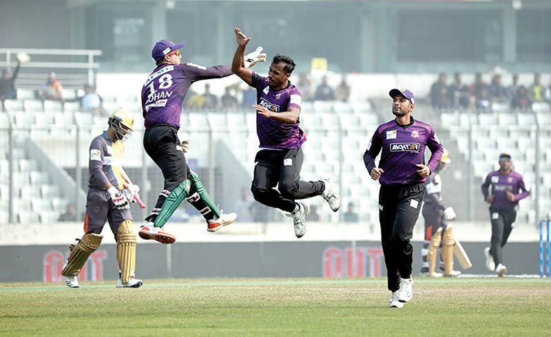 Rubel Hossain of Chattogram Challengers celebrating with his teammate after hauling a wicket of Dhaka Platoon in their Eliminator match of Bangabandhu BPL 2019 at the Sher-e-Bangla National Cricket Stadium, Mirpur on Monday.    photo: BCB