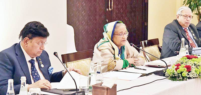 Prime Minister Sheikh Hasina addresses the conference of Bangladesh ambassadors in the Middle Eastern countries in Abu Dhabi on Monday evening. photo: pid