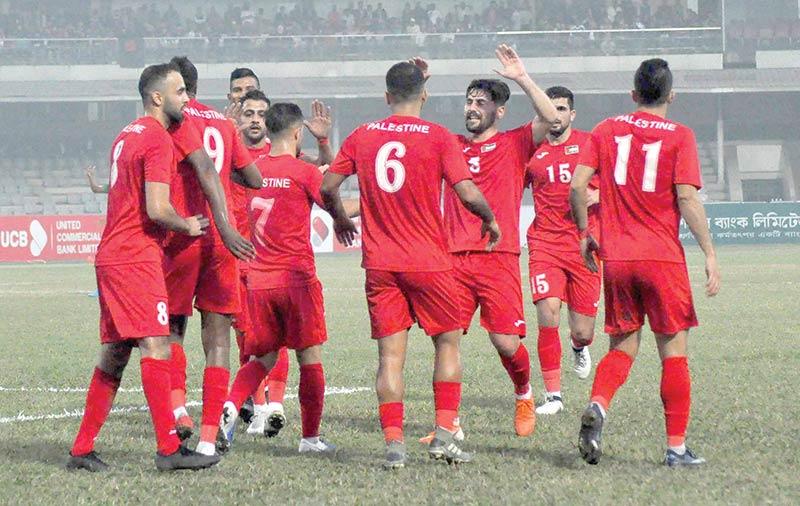 Palestine boys celebrating after winning the opening match of the Bangabandhu Gold Cup football against host Bangladesh at the Bangabandhu National Stadium in Dhaka on Wednesday.
