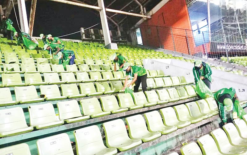 A team of Clemon cleaning up the Sher-e-Bangla National Cricket Stadium