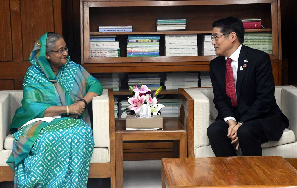 Newly-appointed Japanese Ambassador to Bangladesh Naoki Ito makes a courtesy call on Prime Minister Sheikh Hasina at her parliament office on Monday, January 20, 2020 PID