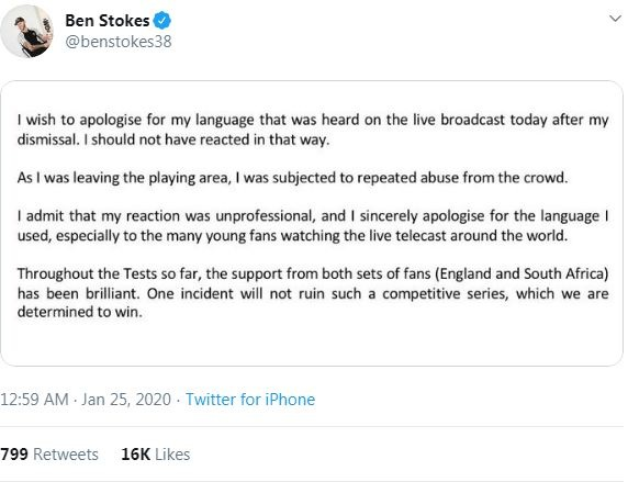 Ben Stokes apologises for abusive clash with fan