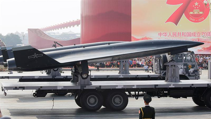 A military vehicle carrying a WZ-8 supersonic reconnaissance drone travels past Tiananmen Square during military parade marking the 70th founding anniversary of People's Republic of China, on its National Day in Beijing, China October 1, 2019. Photo: Reuters
