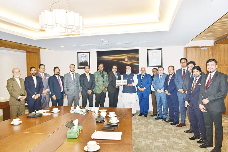 DCCI President Shams Mahmud leading a team of his chamber meets Prime Minister's Adviser on Private Sector Industry and Investment  Salman F. Rahman at the latter's office in Dhaka on Tuesday.