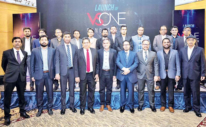 Vsone Bangladesh Chief Executive Officer Zahid Khan, IFS South Asia Sales Managing Director and  Vice President Shiraz Lye, VSIS Managing Director and Chief Executive Officer Priyanga Gunasekera, Vsone Global Operation General Manager Wajira Wanigasekera and Vsone World Chief Technology Officer Daniel Ananthan pose among others after launching partnership between Vsome and IFS in Dhaka on Monday.