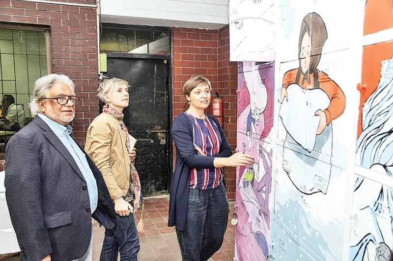 Mural of Bengali and German Folk Tales on Goethe-Lockers unveiled