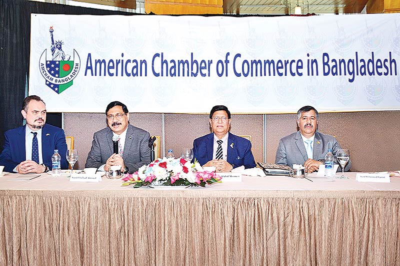 Foreign Minister Abdul Momen, AmCham President Syed Ershad Ahmed, AmCham Vice President Syed Mohammad Kamal, attend AmCham meeting at a city hotel on Thursday.
