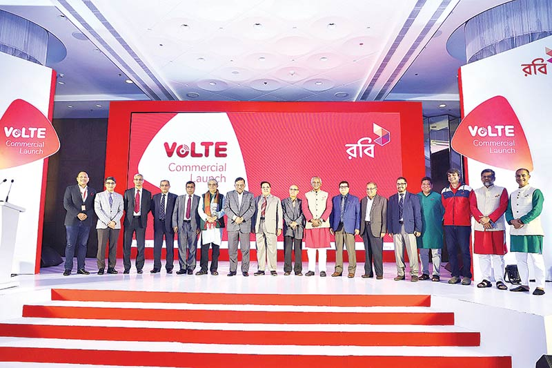 Home Minister Asaduz-zaman Khan and Posts and Telecommunications Minister Mustafa Jabbar, Bangladesh Telecom Regulatory Commission Chairman Md Jahirul Haque,  Robi CEO Mahtabuddin Ahmed and other senior officials pose at the GP VoLTE launching ceremony at city hotel late on Wednesday.