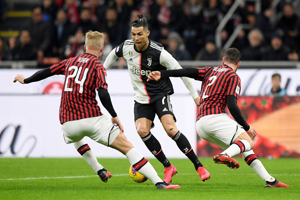 Juventus' Cristiano Ronaldo in action during their Italian Cup semi-final first leg against AC Milan in Milan Thursday. Photo: Reuters