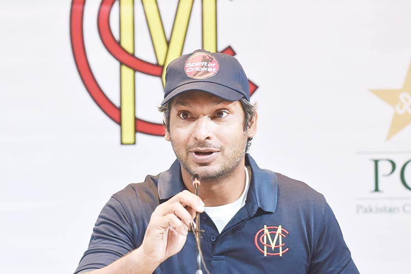 Former Sri Lankan cricketer Kumar Sangakkara and Marylebone Cricket Club (MCC) president speaks during a press conference in Lahore on February 13, 2020, ahead of a four-match tour as part of efforts to revive international cricket in Pakistan.photo: AFP