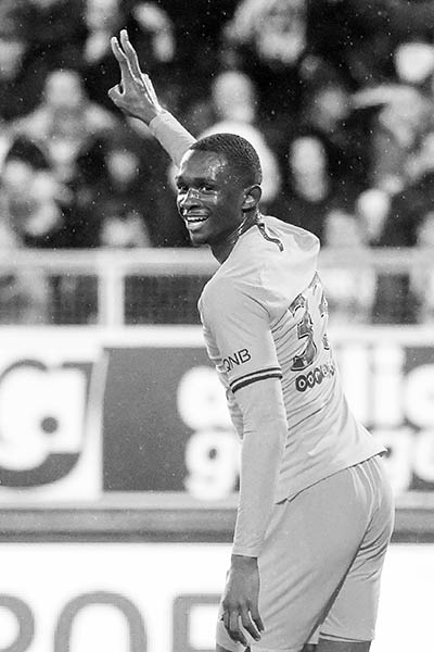 Paris' French defender Tanguy Kouassi celebrates after scoring a goal during the French L1 football match between Amiens SC and Paris Saint-Germain (PSG) at the Licorne stadium in Amiens, northern France, on February 15, 2020.photo: AFP