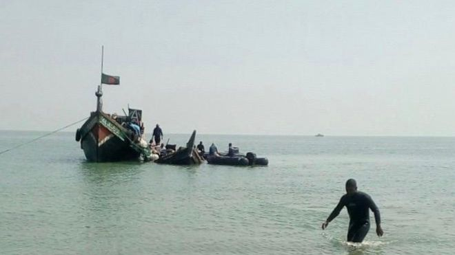 The Bangladesh navy pulled the boat back in to shore. Photo: Bangaldesh Navy