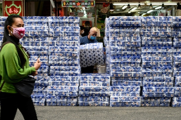 Toilet roll has become hot property in Hong Kong thanks to panic-buying  --AFP / Philip FONG