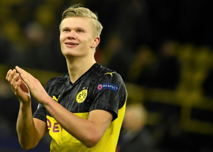 Erling Braut Haaland already has 10 goals in the Champions League this season after netting twice in Borussia Dortmund's 2-1 win over Paris Saint-Germain on Tuesday  --AFP / Ina Fassbender