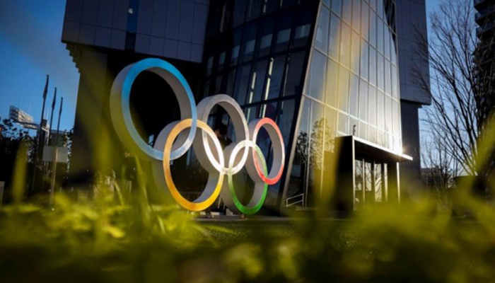 The Olympic rings are displayed in front of the Japan Olympic Museum in Tokyo, Japan, on February 17, 2020. Photo: Reuters