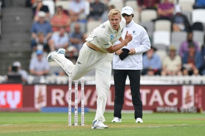 New Zealand's Kyle Jamieson took three wickets before tea on the first day (AFP Photo/Marty MELVILLE)