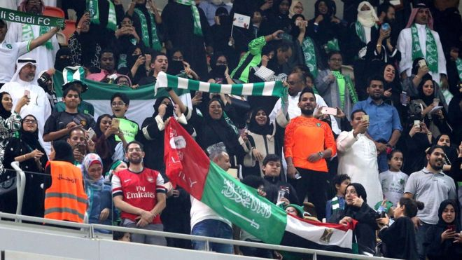 Women were first able to watch a football match in Saudi Arabia in January 2018. Photo: EPA