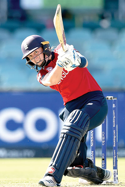 England's Heather Knight plays a shot during the Twenty20 women's World Cup cricket match between England and Thailand in Canberra on February 26, 2020.photo: AFP