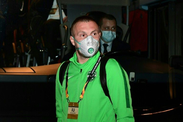 Ludogorets' defender Cosmin Iosif Moti arrives at the San Siro for a Europa League clash against Inter Milan. Photo: AFP