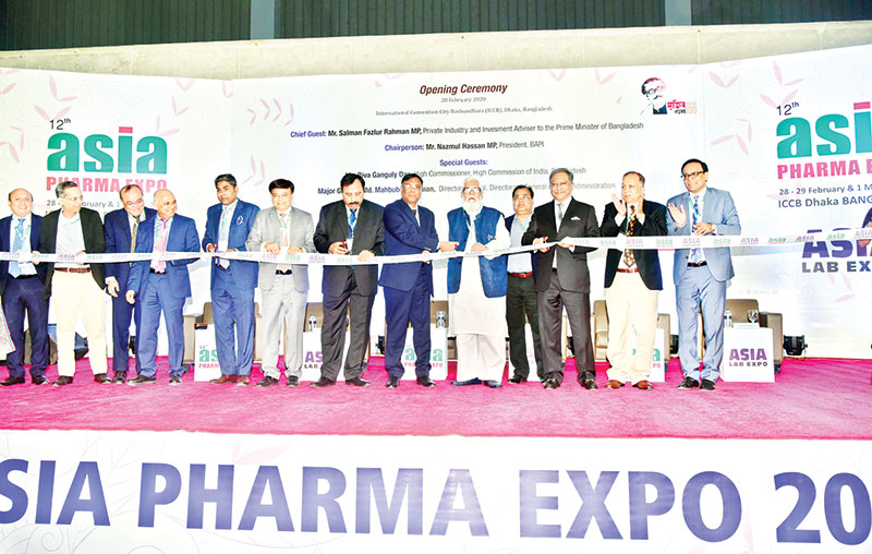 Prime Minister's Adviser on Private Industry and Investment Salman F Rahman MP, BAPI President Nazmul Hassan MP, and Bangladesh Drug Administration Director General Major General Mahbubur Rahman among others attend inauguration of Asia Pharma Expo-2020, being held at the International Convention City, Bashundhara in Dhaka on Friday.