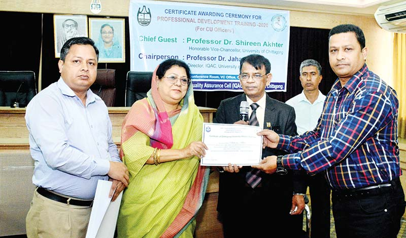 Chittagong University Vice-Chancellor Prof Dr Shireen Akhter distributing certificates