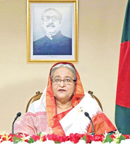 Prime Minister Sheikh Hasina addressing the nation on Wednesday.PHOTO: PID