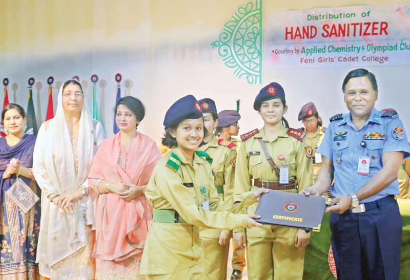 Students of Feni Girls' Cadet College made hand sanitizers