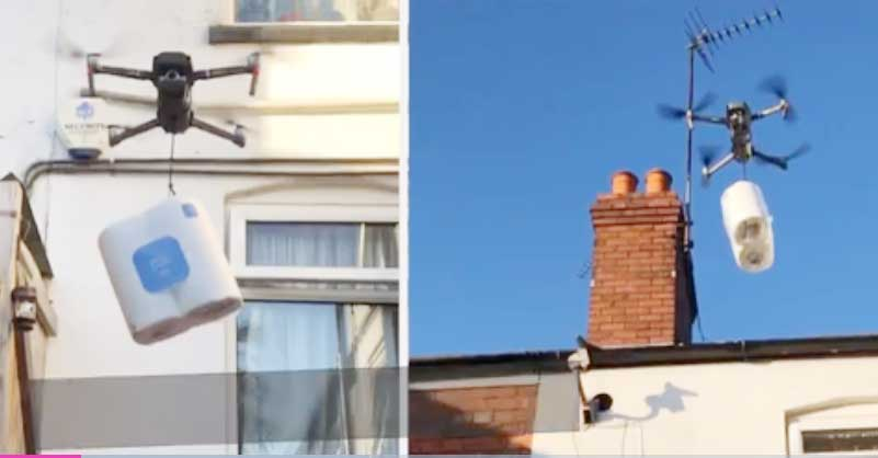 Man uses drone to deliver toilet roll to sister