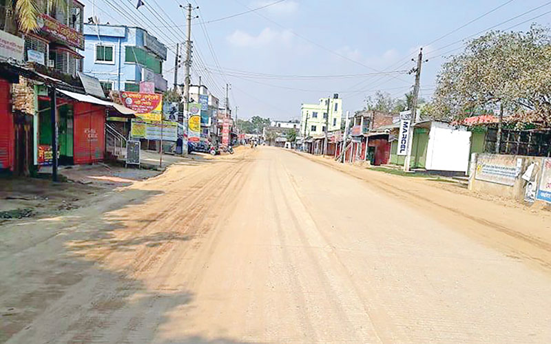 Markets closed at Haluaghat with thin public presence
