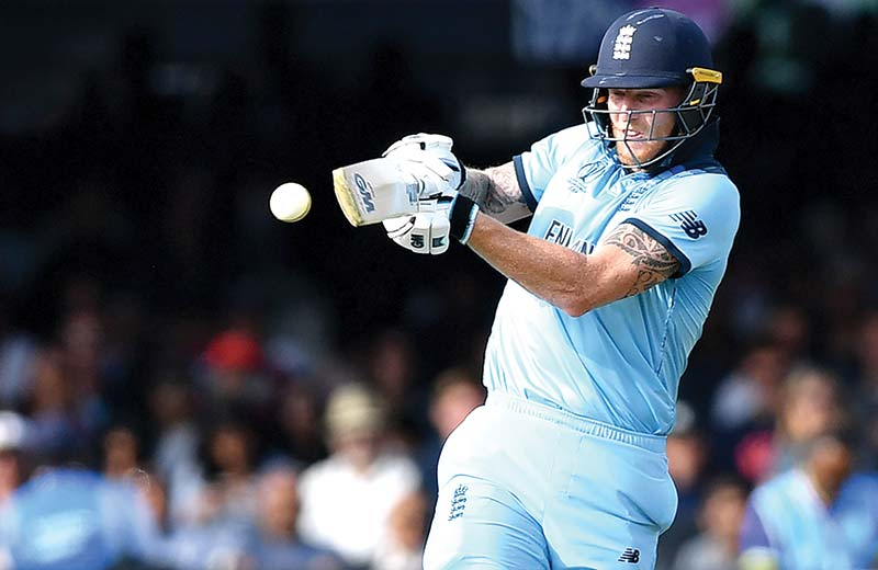 In this file photo taken on July 14, 2019 England's Ben Stokes plays a shot during the 2019 Cricket World Cup final against New Zealand at Lord's Cricket Ground in London on July 14, 2019. - Ben Stokes has ended Virat Kohli's three-year reign as Wisden's leading cricketer in the world after playing a key role in England's World Cup win. photo: AFP
