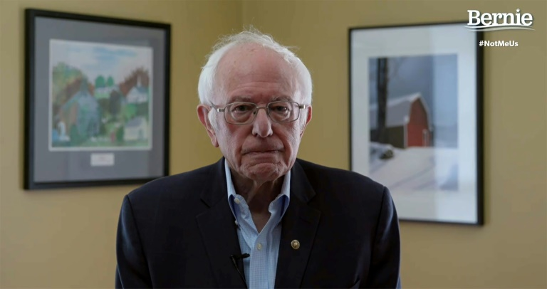 In this video still image from the Bernie Sanders Presidential Campaign, Sanders announces the suspension of his presidential campaign. Photo: AFP