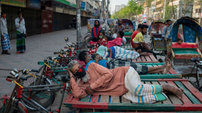 Poor rickshaw van pullers are lying on their vans finding no work amid coronavirus outbreak across Bangladesh. Many of them are also starving due to lack of food supply.