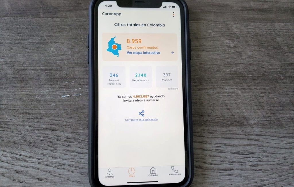 The CoronApp-Colombia mobile app, which the Colombian government has asked residents to download to learn about the coronavirus disease (Covid-19), take health surveys and potentially enable more efficient contact tracing, is seen on a phone in Oakland, California, US. Photo: Reuters
