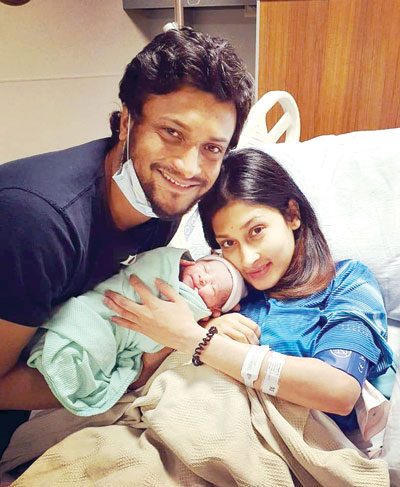 Shakib Al Hasan along with his wife and new born baby named Errum Hasan. photo: FACEBOOK