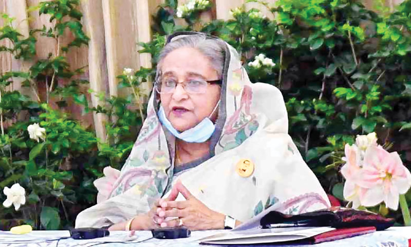 PM Sheikh Hasina announcing stimulus packages for large industries and financial sector to address Covid-19 fallout, recently.�FILE PHOTO
