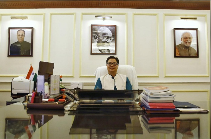 FILE PHOTO: India's junior home minister Kiren Rijiju pauses during an interview with Reuters inside his office in New Delhi, India, September 29, 2015. REUTERS/Anindito Mukherjee
